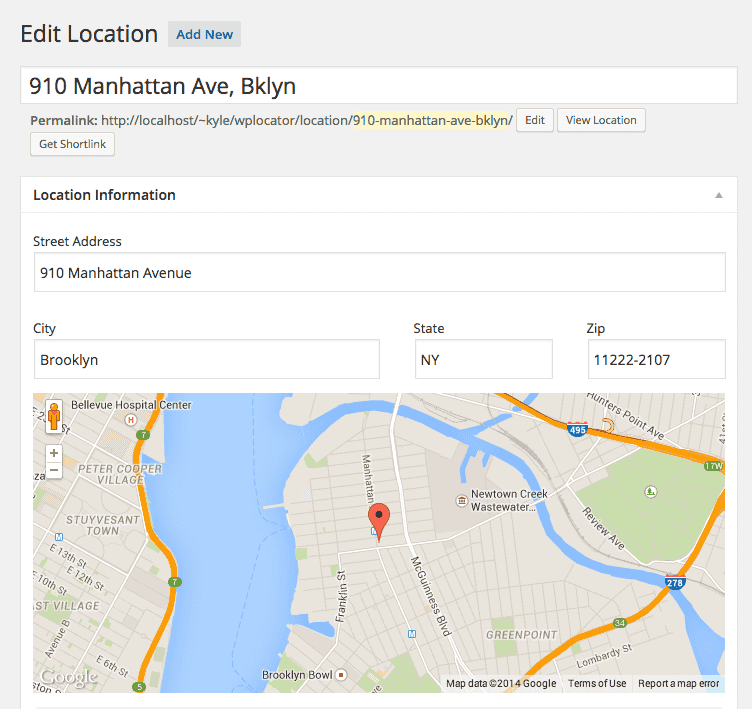 Included location post type with geocoded fields